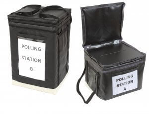Versapak sealed bags and ballot boxes
